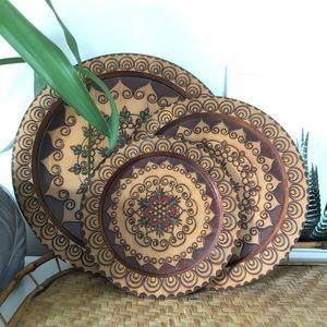 Set Of 3 Decorative Wood Plates